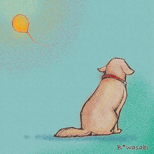 風船を見つめる犬/2010